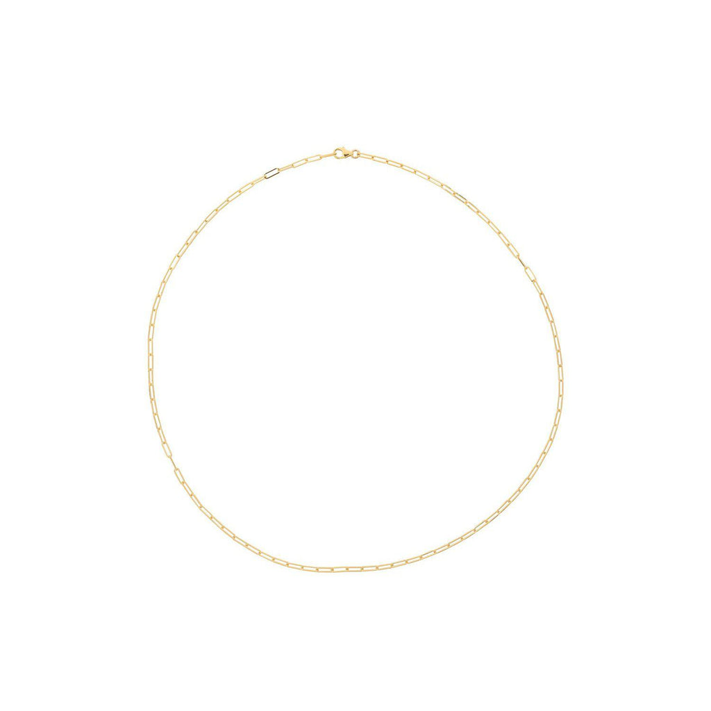 Paper Clip Yellow Gold Chain Necklace