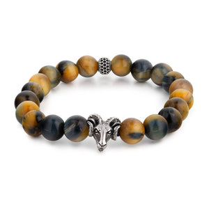 Classic Tiger Eye Beaded Bracelet with Ram Head Bead