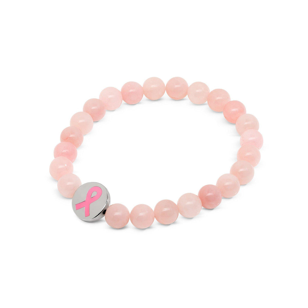 Rose Quartz Breast Cancer Awareness Beaded Bracelet