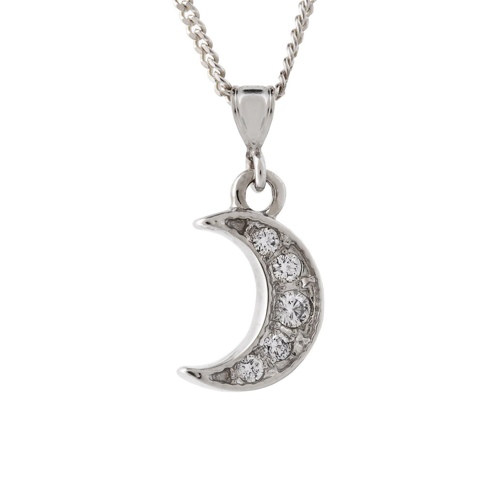 White Gold Diamond  Moon Pendant