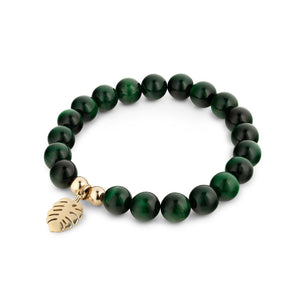 Green Tiger Eye Beaded Bracelet With Gold Leaf Charm