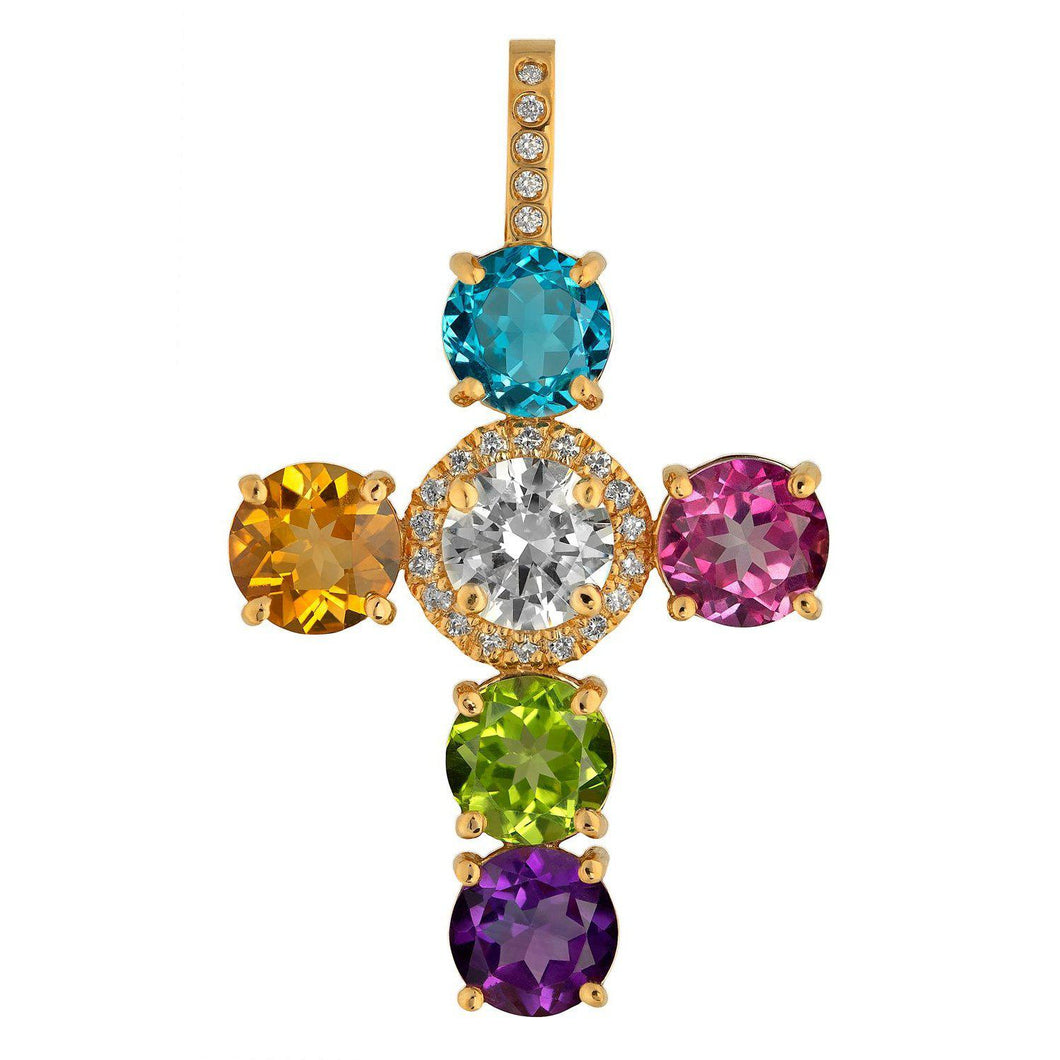Signature Traveling Blonde Diamond Cross Pendant