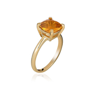 Faceted Citrine Cocktail Ring