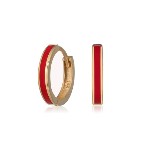 Yellow Gold Red Enamel Huggie Hoop Earrings