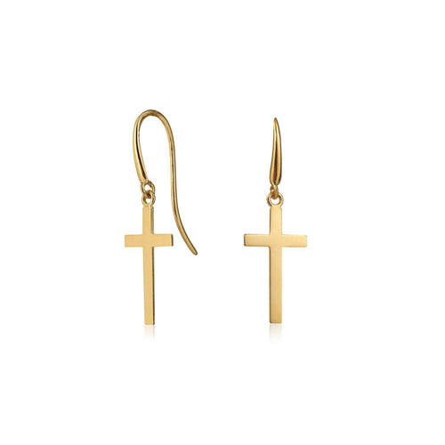 Yellow Gold Drop Cross Earrings