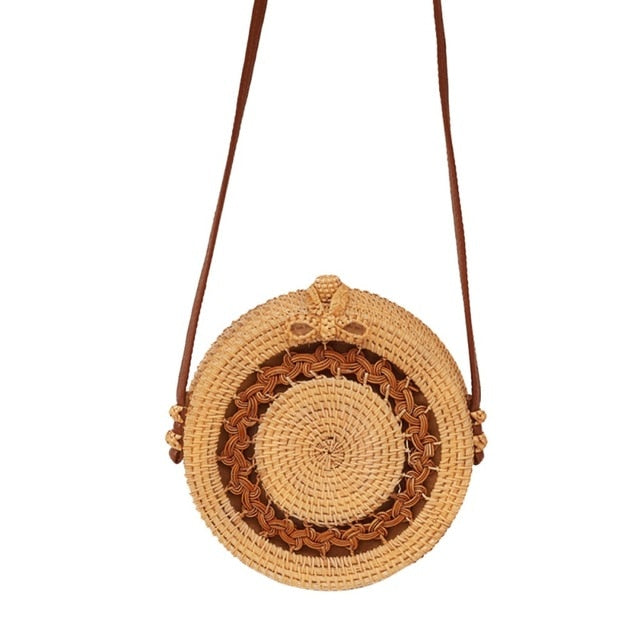 2019 Round Straw Bag bag - Pink Pineapple Swimwear