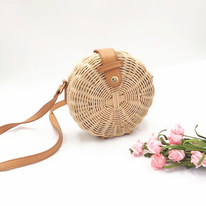Bohemian Bali Rattan Beach Handbag bag - Pink Pineapple Swimwear