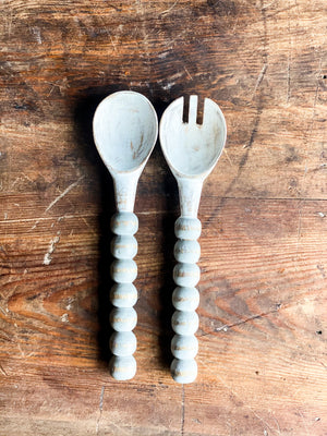 Distressed Wooden Salad Servers