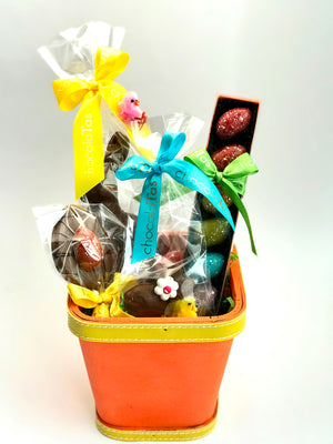 Milk Easter Basket with Rainbow Eggs