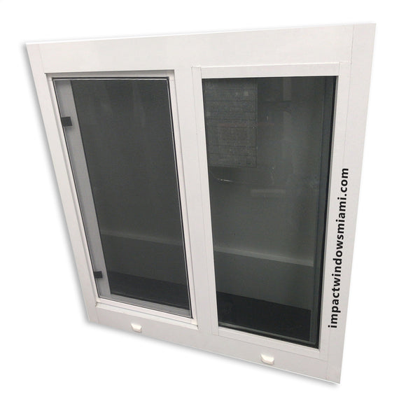 Horizontal roller window rated for hurricane protection.