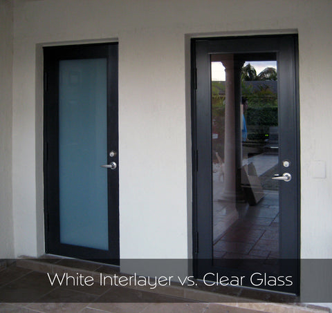 Clear versus white interlayer in impact-resistant doors for hurricane protection.