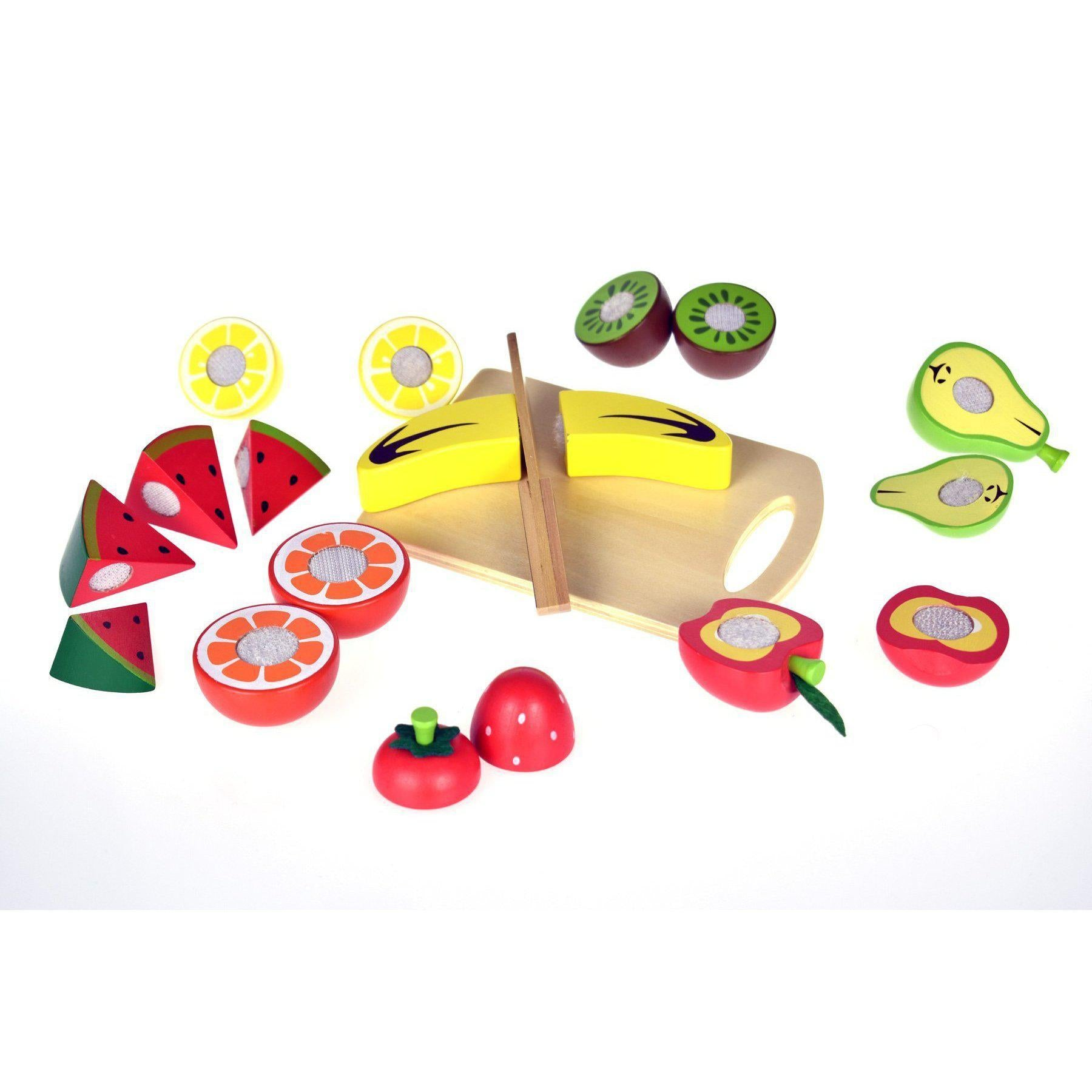 Wooden Cutting Fruits with Large Tray-Role Play-Tooky Toys
