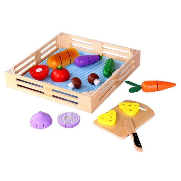 Wooden Cutting Vegetables with Large Tray-Role Play-Tooky Toys