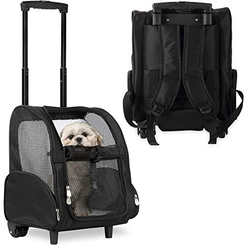 Deluxe Backpack Pet Travel Carrier with Double Wheels