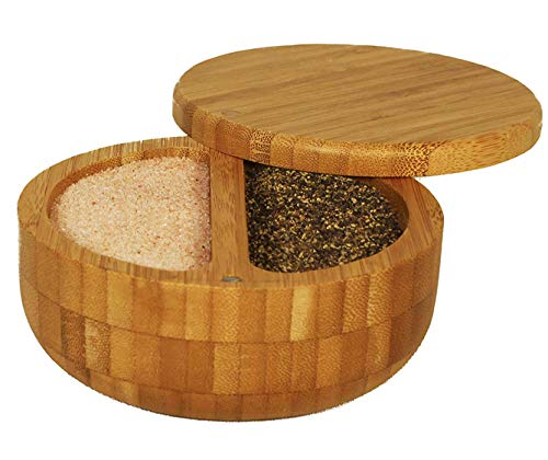 2 Compartment Bamboo Duet with Himalayan Pink Salt and Pepper