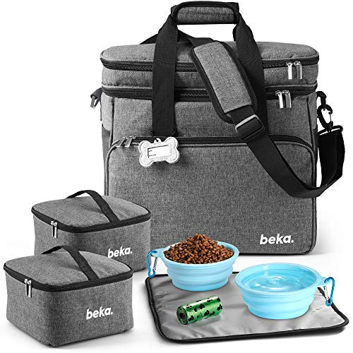 Pet Travel Bag Kit with 2 Collapsible Silicone Bowls & More