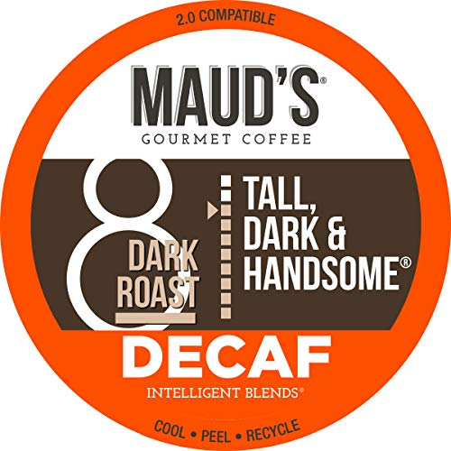 Maud's Dark Roast Decaf Coffee (Decaf Tall Dark and Handsome), 100ct. Recyclable Single Serve Decaf Dark Roast Coffee Pods – 100% Arabica Coffee California Roasted, Dark Decaf K Cups Compatible