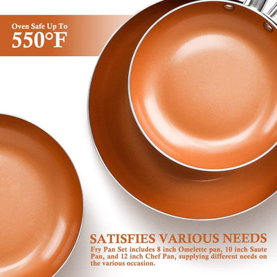 SHINEURI 6 Pieces Nonstick Copper Pan Set
