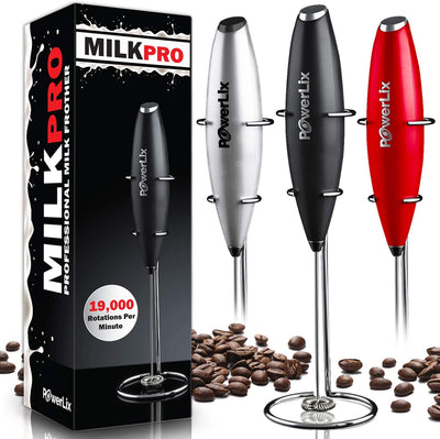 PowerLix Milk Frother Handheld Battery Operated