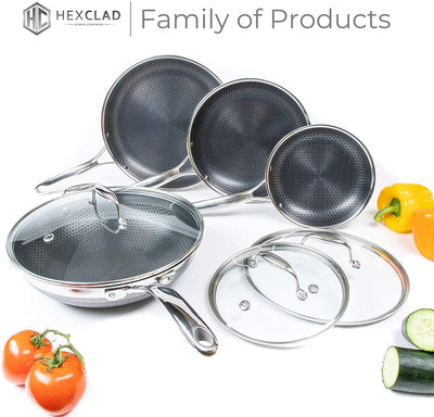 HexClad Hybrid Non-Stick Cookware | 7 Piece Set