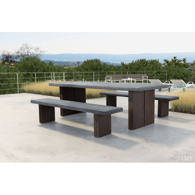 Fabulous Zuo Modern Windsor Cement And Natural 100800 Dining Table Bralicious Painted Fabric Chair Ideas Braliciousco