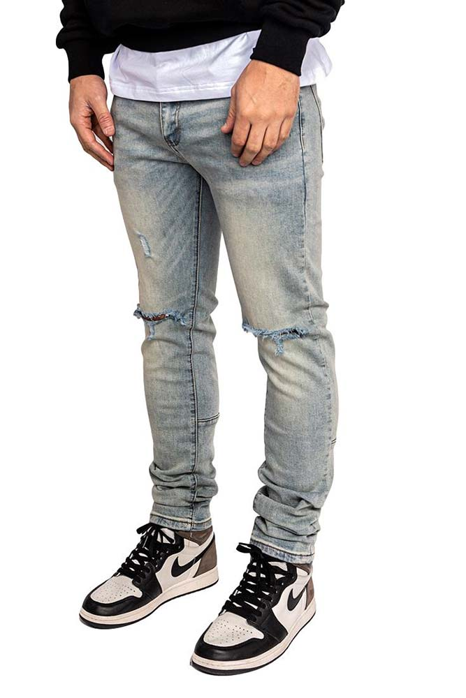 Ripped pale denim
