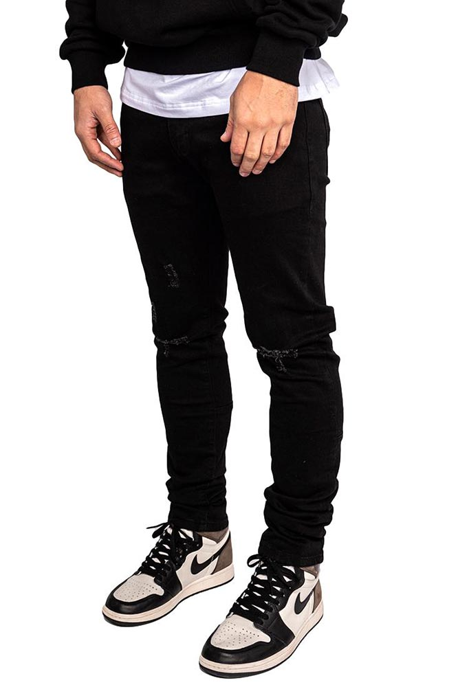 Ripped black denim
