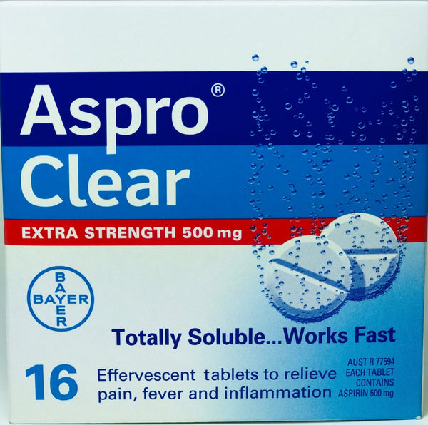 Aspro Clear Extra Strenght Asprin 500mg Tablet