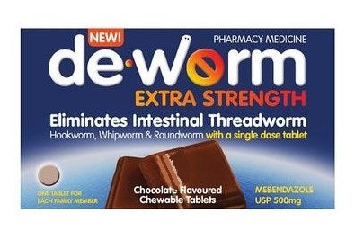De-Worm 500mg Extra Strength Chocolate Chewable Tablet