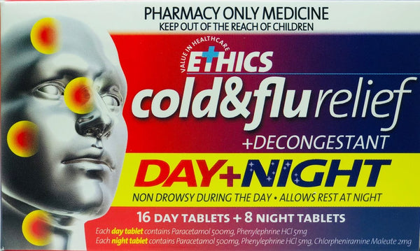 Ethics Cold & Flu Day and Night Relief Plus Decongestant