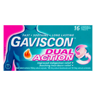 Gaviscon Dual Action Heartburn & Indigestion Chewable Tablets