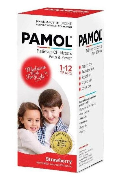 Pamol All Ages Strawberry Pain & Fever Relief Liquid