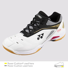 Load image into Gallery viewer, 2018 YONEX POWER CUSHION 65X WIDE BADMINTON SHOES - WHITE/GOLD