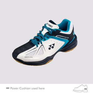 2018 YONEX POWER CUSHION 35 JUNIOR BADMINTON SHOES - WHITE/SKY BLUE