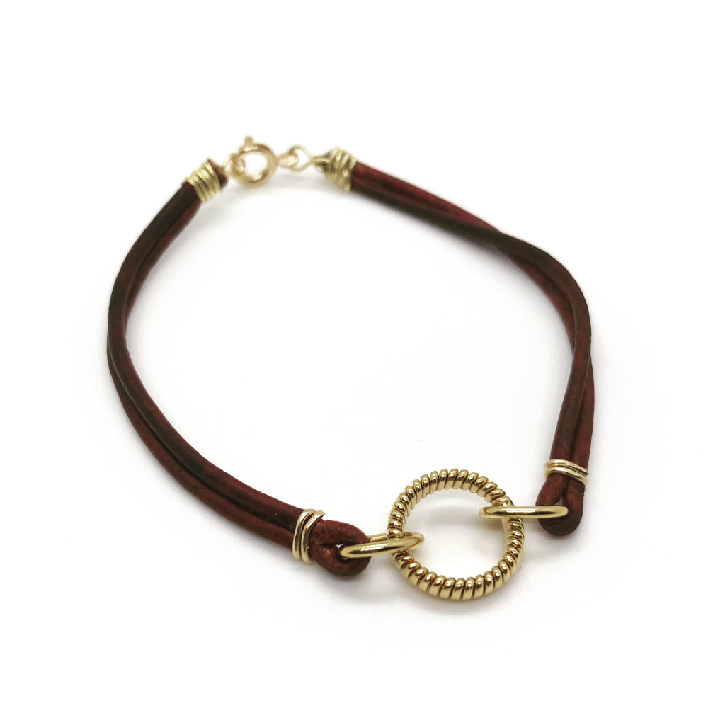Leather & Golden Bracelet