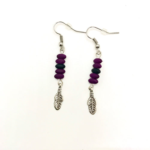 Purple Feather Earrings