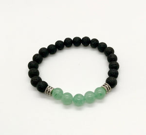 Black Lava Rock + Green Aventurine