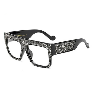 Absolute Sensation - Large Thick Square Frame Oversized Sunglasses with Glitter