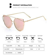 Load image into Gallery viewer, Panthera - Women's Oversized Aviator Cat Eye Sunglasses, Mirror Lens & Crossbar