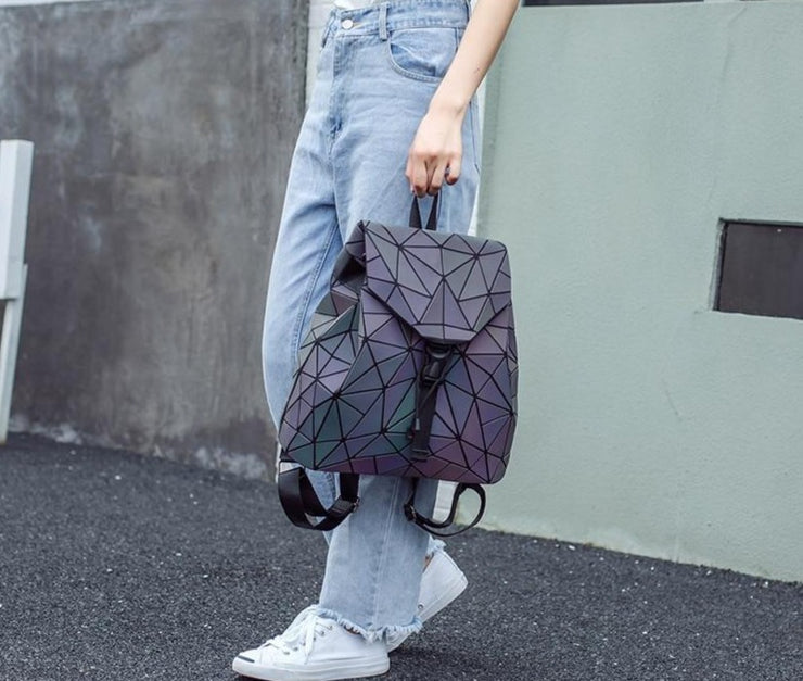 Women's Luminous Geometric Backpack  - Holographic Reflective Glow In The Dark Fashion Bag, Clutch and Wallet