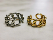 Ladies Geometric Chain Link Open Ring  - Adjustable, Thick, Chunky, Vintage Fashion Ring