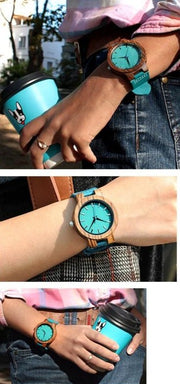 Large Casual Round Turquoise Zebra Wood Quartz Watch - Wooden Bezel Watch With Minimal Turquoise Dial Face without Numbers
