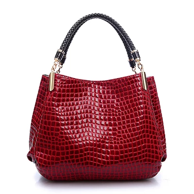 Women's PU Leather Crocodile Skin Handbag - With Zipper Compartment