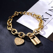 Load image into Gallery viewer, Lock Heart Coin Pendant Bracelet - Vintage, Thick, Gold or Silver Plated Chain with Hanging Gold or Silver Plated Padlock and Heart Coin Pendants