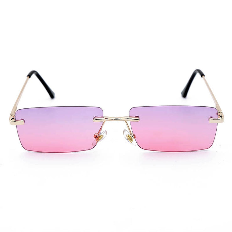 Hot Summer - Women's Rimless Rectangle Vintage Sunglasses, with Warm Retro Gradient Lens