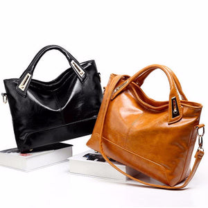 Women's Oil Wax PU Leather Handbag - With Shoulder Strap