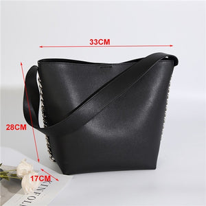 Women's Large PU Leather Bucket Handbag - With Chain Design