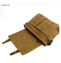 Load image into Gallery viewer, Men's Genuine Leather Vintage Canvas Bag - Messenger Travel Briefcase with Strap