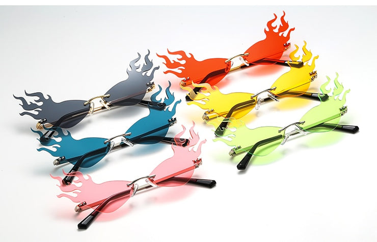 Fireball - Trendy Cat Eye Flame Frame Sunglasses