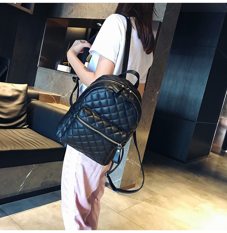 Women's PU Leather Diamond Lattice Backpack - Vogue Fashion Mini Bag